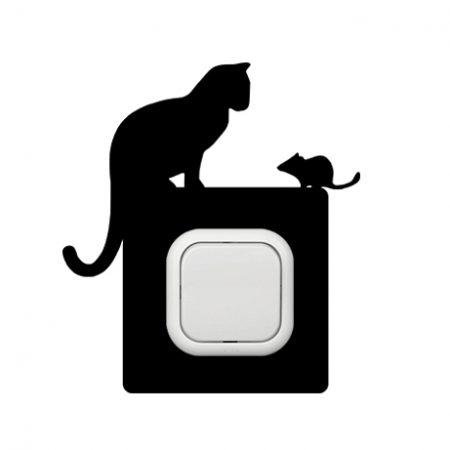 Cica és egér kapcsoló védőmatrica
