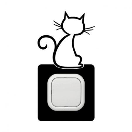 Cica háttal kapcsoló védőmatrica