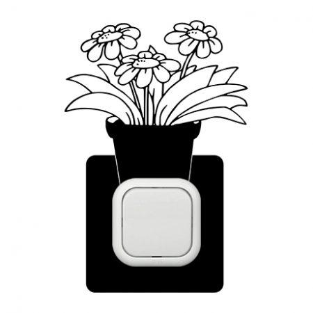 Cserepes virág kapcsoló védőmatrica