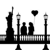 Amerikai pár falmatrica