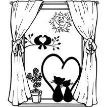 Macskák az ablakban falmatrica