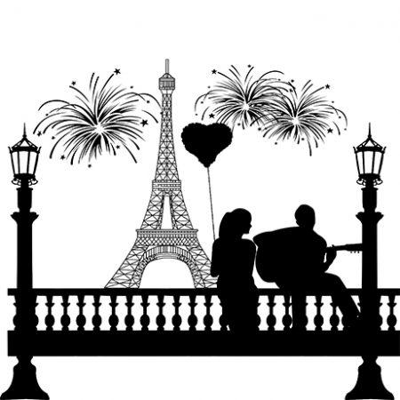 Párizsi pár falmatrica
